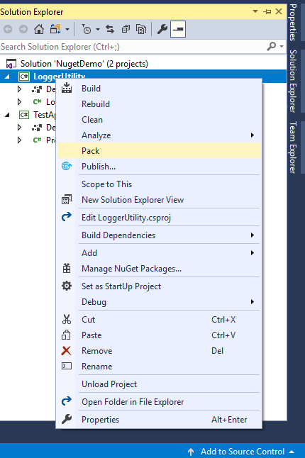 Package creation from Solution Explorer